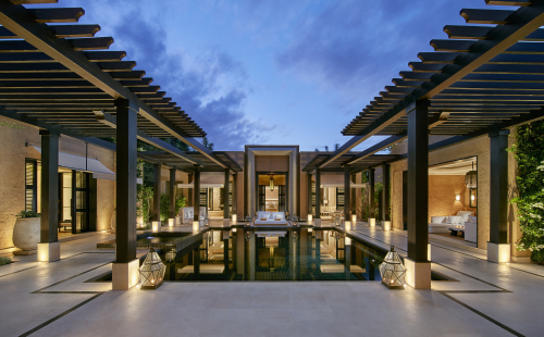 marrakech-villa-oriental-pool-terrace-dusk