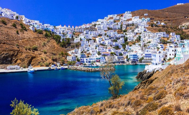 Traditional Greece - beautiful Astypalea island. View of Chora village