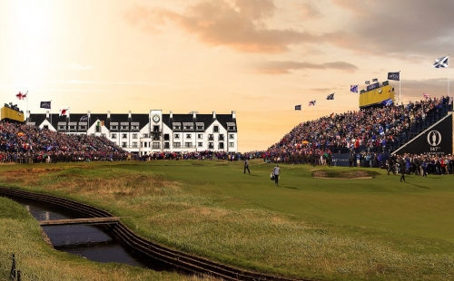 picture of a building at the open at carnoustine